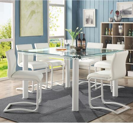 Gordie Collection 702502 7 PC Bar Table Set with Glass Top Counter Height Table and 6 PU Leather Upholstered Counter Height Chairs in White