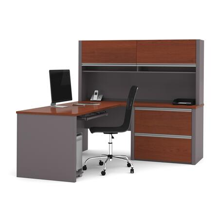 93867-39 Connexion L-Shaped Workstation Kit with Scratch and Stain Resistant Surface in Bordeaux