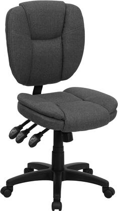 GO-930F-GY-GG Mid-Back Gray Fabric Multi-Functional Ergonomic Task
