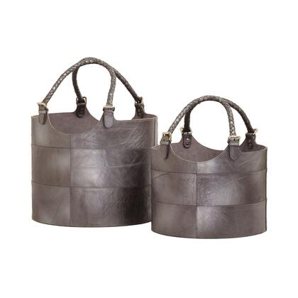 819008 Nested Gunmetal Leather Buckets - Set of 2
