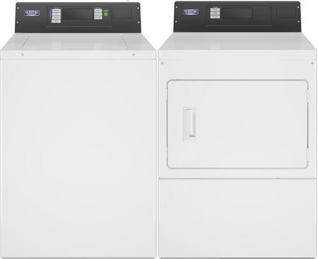 Commercial Laundry Pair with MAT20PRAWW 2.9 cu. ft. Top Load Washer and MDG20PRAWW  7.4 cu. ft. Gas