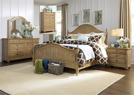 Harbor View Collection 531-BR-KPSDMCN 5-Piece Bedroom Set with King Poster Bed  Dresser  Mirror  Chest and Night Stand in