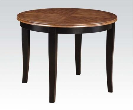 Galan Collection 71215 Dining Table with Round Shape  Tapered Legs and Wood Construction in Black and Oak
