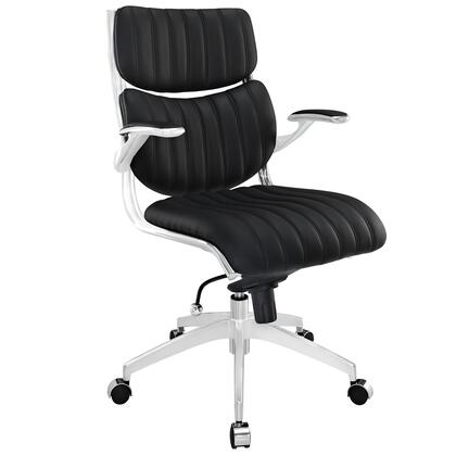 Escape Collection EEI-1028-BLK Office Chair with 360-Degree Swivel Seat  Pneumatic Height Adjustment  Five Dual-Casters  Tilt Control Tension Knob  Chrome
