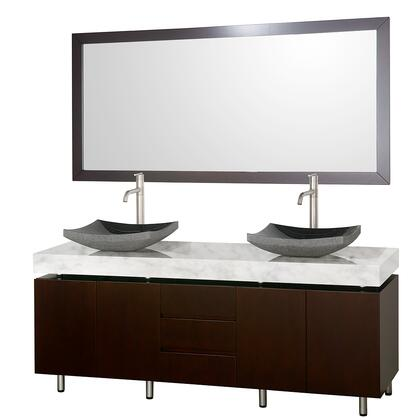 WCS300072ESCWGS1 72 in. Double Bathroom Vanity in Espresso with White Carrera Marble Top with Black Granite Sinks and 70 in.
