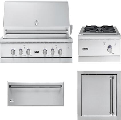 4-Piece Stainless Steel Outdoor Kitchen Package with VGIQ554241NSS 54 inch  Natural Gas Grill  VGWTO5241NSS 27 inch  Side Burner  VOADS5240SS 24 inch  Single Access Door  and