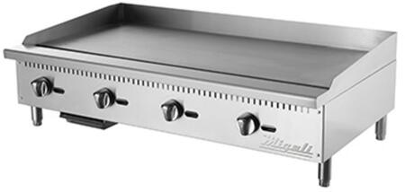 C-G48 48 inch  Competitor Series Commercial Natural Gas Griddle with 4 Burners  Manual Ignition  Stainless Steel Construction  and Removable Waste Tray  in