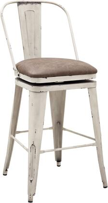 DS-D078 Metal Swivel Barstool with All-Metal Construction  360-Degree Swivel Mechanism and Tan  Leather-Like Upholstered Seat Cushion in Distressed Antique