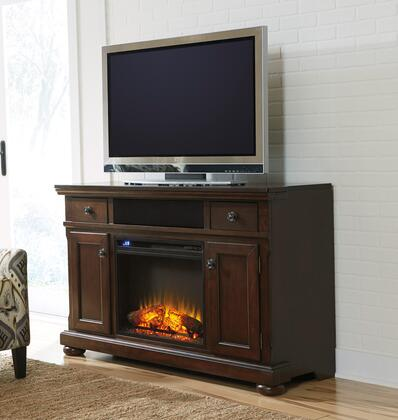 Porter Collection W697-120F01 2-Piece Set with TV Stand and W100-01 Fireplace Insert in Rustic