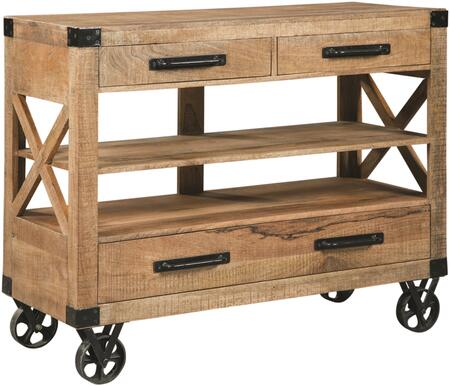 Accents Collection 950711 44 inch  Console Table with 3 Drawers  Storage Shelves  Large Industrial Casters  Black Metal Hardware and Rich Mango Construction in