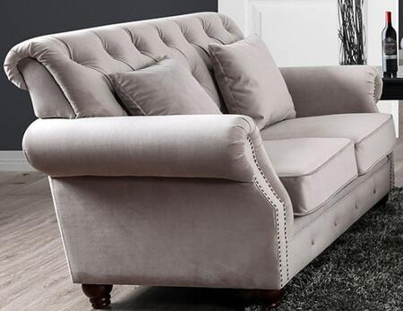 Tamika CM6577-LV Loveseat with Button Tufting  Nail Head Accents and Flannelette Upholstery in