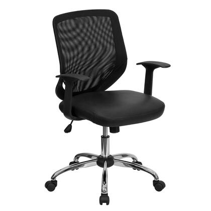 LF-W95-LEA-BK-GG Mid-Back Black Office Chair with Mesh Back and Leather