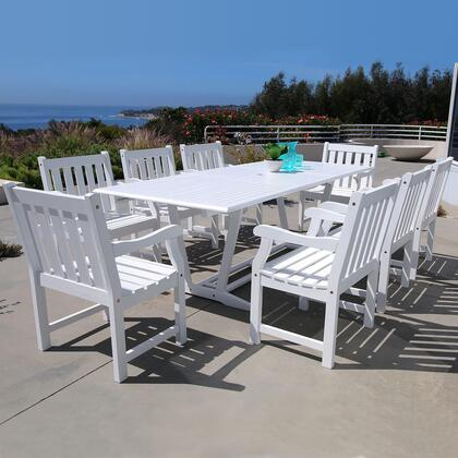 V1334set20 Bradley Eco-friendly 9-piece Outdoor White Hardwood Dining Set With Rectangle Extention Table And Arm