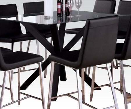 71000 Lenia Counter Height Table in Sandy Black Finish with Clear Glass