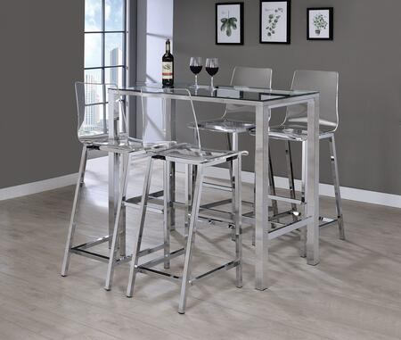104873-4BS-100295 5-Piece Bar Table Set with Rectangular Glass Top Bar Table and 4 Acrylic Seat Barstools in