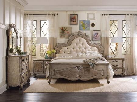5450-KUBMC3DNS2DCM 5-Piece Chatelet Collection Bedroom Set with King Size Upholstered Bed + Media Chest + 3 Drawer Chest + 2 Door Chest + Mirror  in Antique
