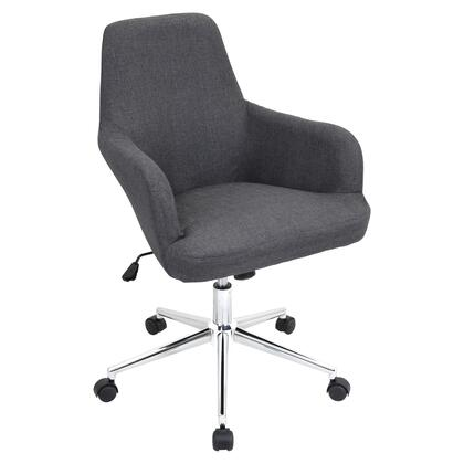 OFC-AC-DGR GY Degree Height Adjustable Office Chair with Swivel in