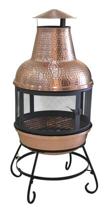 DM-6554-CC Cape Chiminea with 360 Degree Spark Guard Screen  Fire Tool  Log Grate and Copper Material in Hand-Hammered