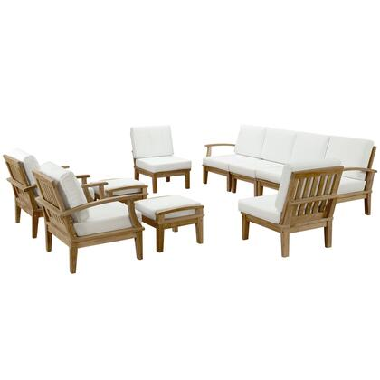 Marina Collection EEI-1489-NAT-WHI-SET 10-Piece Outdoor Patio Teak Sofa Set with 4 Middle Sofas  Left Arm Sofa  Right Arm Sofa  2 Armchairs and 2 Ottomans in