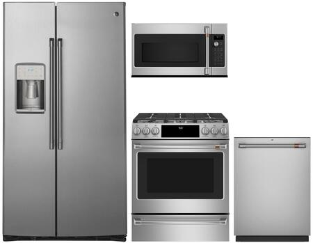 4-Piece Kitchen Package with CZS22MSKSS 36 inch  Side by Side Refrigerator  CVM9215SLSS 30 inch  Over the Range Microwave  CV936MSS 30 inch  Wall Mount Ducted Hood  and a