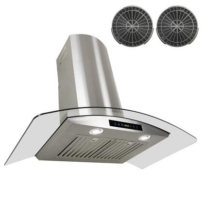 GWR73C30 30 inch  Wall Mount Range Hood with 760 CFM  65 dB  Innovative Touch  2W LED Lighting  3 Fan Speed  Stainless Steel Baffle Filter and Ductless: Stainless