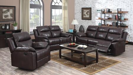 Dyson 50855SLR 3 PC Living Room Set with Sofa + Loveseat + Recliner in Burgundy