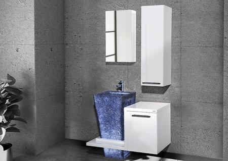 Babis Collection BABIS100GW40SET 3 PC Vanity Set with Vanity + Mirror + Side Cabinet in Glossy White