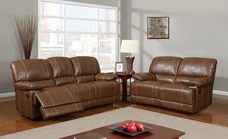 U9963-Rodeo Brown-SLR 3 Piece Bonded Leather Reclining Livingroom Set in Brown  Sofa + Loveseat +