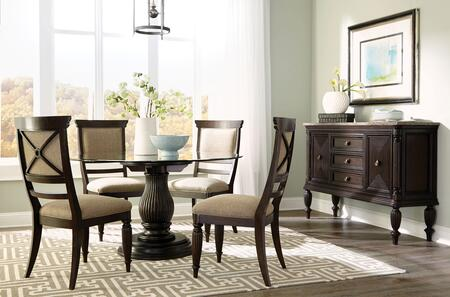 Jessa 4980rdts4sc 6-piece Dining Room Set With Round Dining Table  Sideboard And 4 Side Chairs In Dark Brown