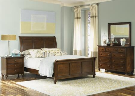 Hamilton Collection 341-BR-KSLDMN 4-Piece Bedroom Set with King Sleigh Bed  Dresser  Mirror and Night Stand in Cinnamon