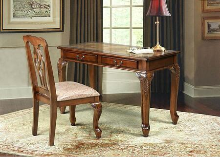801127 2-Piece Desk Set with Writing Desk and Chair in Golden Brown