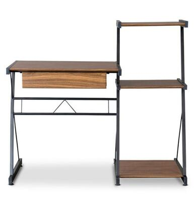 Baxton Studio AA-2009-Z2-3 (MDF)-Coffee/Black New Semester Computer Desk with 1 Drawer  Powder-Coated Steel Tube  Pull-Out Tray  Side Shelves and Polyurethane