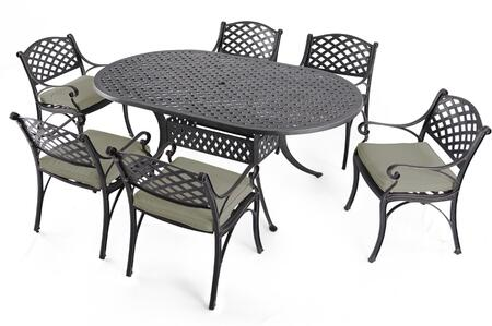 SCD002-02-MH-0225 7-Piece Cast Aluminum Patio Dining Set with 72