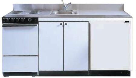 ROE9Y60 60 inch  Compact Kitchen with 4 Electric Coil Burners  Removable Refrigerator  Electric Oven  Backguard  Stainless Steel Countertop  and Sink: