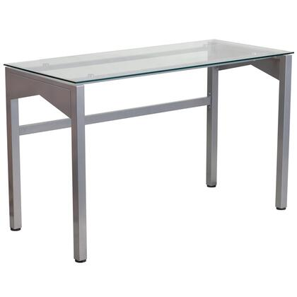 NAN-YLCD1219-GG Contemporary Desk with Clear Tempered Glass Top and Silver