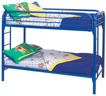 Fordham Collection 2256B Twin Over Twin Bunk Bed with Built-In Ladders  Full Length Guard Rails and Two Inch Metal Tubing Construction in Blue
