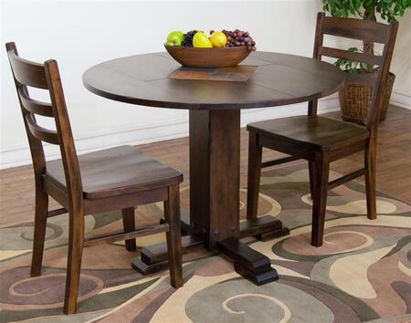 Santa Fe Collection 1233DCDT2C 3-Piece Dining Room Set with Drop Leaf Table and 2 Chairs in Dark