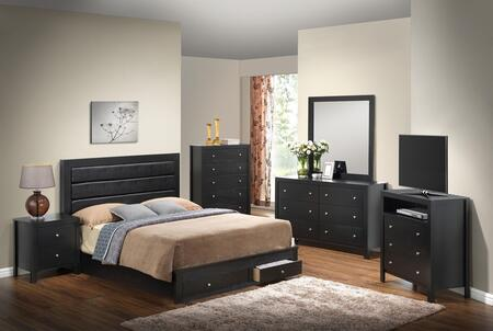 G2400 Collection G2450CFSBSET 6 PC Bedroom Set with Full Size Storage Bed + Dresser + Mirror + Chest + Nightstand + Media Chest in Black