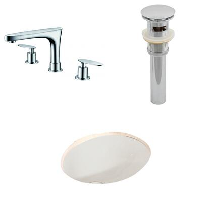 AI-13246 19.75-in. Width x 15.75-in. Diameter CUPC Oval Undermount Sink Set In Biscuit With 8-in. o.c. CUPC Faucet And