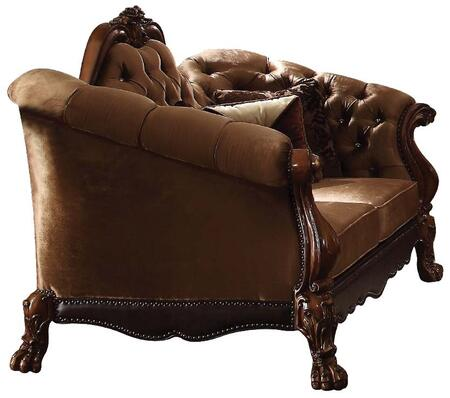 Dresden Collection 52096 73 inch  Loveseat with Toss Pillow Included  Removable Seat Cushions  Scrolled Crown Trim  Velvet Upholstery  Aspen and Poplar Wood