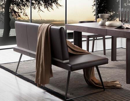 VGWCE151Y Modrest Union Dining Bench with Black Powder Coated Metal Legs  Grey Gloss Accent On Backrest and Leatherette Upholstery in