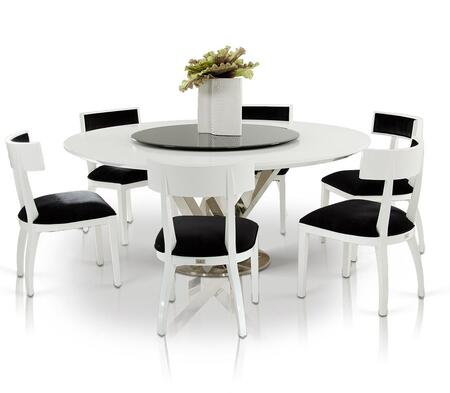 VGUNAC833-180-WHTWCH A&X Spiral Round Dining Table + 6 White Chairs in White
