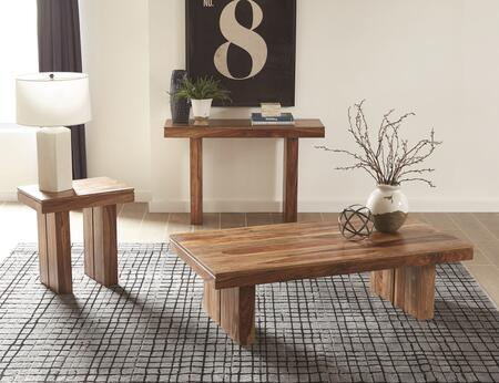 Occasional Groups Collection 705848SET 3 PC Living Room Table Set with Coffee Table + End Table + Sofa Table in Natural Sheeshan