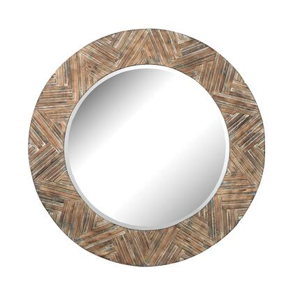 51-10162 48 inch  Large Round Wicker Mirror with Beveled
