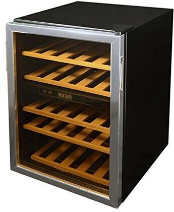 WKD5 Dual Zone Wine Cooler with 36 Wine Bottle Capacity  5 Wood Shelves  Reversible Glass Door  Digital LCD Display  and Adjustable Leg Leveling in Black with