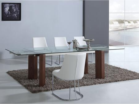 Torino Collection CBD2048WALSET 5 PC Dining Room Set with Extendable Clear Tempered Glass Top Dining Table and 4 White Eco-Leather Upholstered Dining