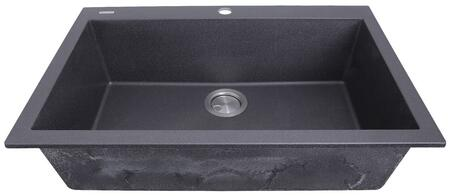 Plymouth Collection PR3020-DM-BL 30 inch  Single Bowl Dual-Mount Sink with Granite Composite Material  Heat Resistant Design  Sound Absorbing and Non-Porous Surface