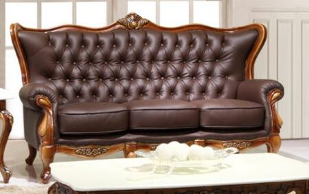 995ESPRESSOS Traditional Style Sofa with Crown-like Design on Top   Hand Carved Wooden Frame in Matte Walnut Finish and Genuine Italian Leather Upholstery in