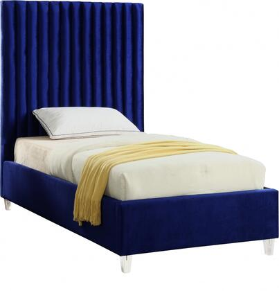 Candace Collection CandaceNavy-T Twin Size Bed with Velvet Fabric Upholstery  Channel Tufted Headboard  Slats Included and Acrylic Feet in