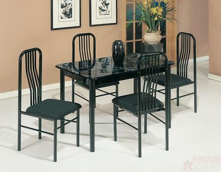 Hudson Collection 02406/7-BK 5 PC Dining Set with 4 Armless Chairs  Rectangular Table  Faux Marble Top  Fabric Cushion Seat and Metal Slatted Back in Black